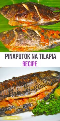 na Tilapia One would say that the fish in this Pinaputok na Tilapia recipe is stuffed so much up to its bursting limit.One would say that the fish in this Pinaputok na Tilapia recipe is stuffed so much up to its bursting limit. Fish Recipe Filipino, Filipino Dishes, Filipino Recipes, Asian Recipes, Healthy Recipes, Filipino Food, Oriental Recipes, Thai Recipes, Soup Recipes