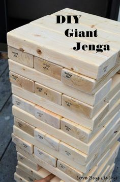 Love Bug Living: DIY Giant Jenga Outdoor Game - Fun party game.  Thinking you could use 1x2 also
