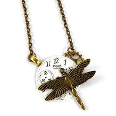 AUTUMN DRAGONFLY steampunk vintage dial necklace  | $25 on www.runwildhorses.com.au ©Run Wild Horses