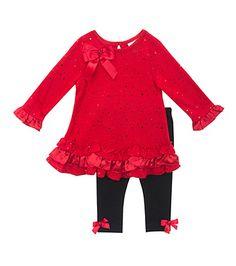 Rare Editions® Baby Girls' 2 Piece Sparkle Dot Leggings Set at www.bonton.com