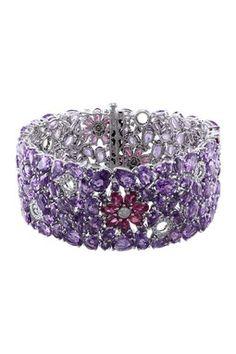 14K White Gold Diamond, Pink Tourmaline & Amethyst Flower Bracelet