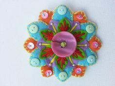 Colourful Felt Flower Brooch x by HeartsxFlowers on Etsy, £5.00