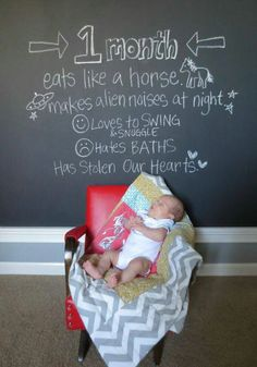 Cute baby photo idea with blackboard with likes & dislikes
