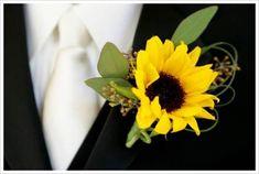 sunflower designer buttonhole idea- perhaps just for the groom