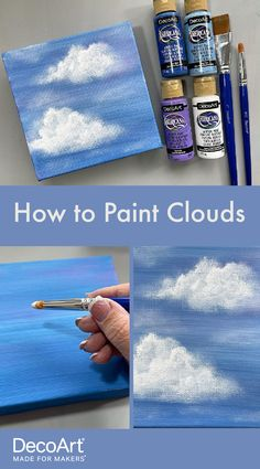 Learn how to paint simple clouds using these acrylic painting tutorial. All you need is some basic colors and a couple of brushes to get started! You can find more tutorials and content like this at decoart.com Basic Painting, Dot Art Painting, Beginner Painting, Painting Lessons, Diy Painting, Painting Clouds, Tole Painting, Watercolor Paintings For Beginners, Watercolor Paint Set