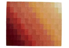 CHART rug  in shades of orange to red  Dimensions: 200 x 250 cm  or to order in bespoke size. See blue version.