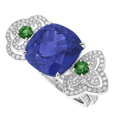 Orangerie des Tuileries ring from the Escale á Paris collection of jewels by Louis Vuitton, featuring tanzanites, green tsavorites and diamonds.