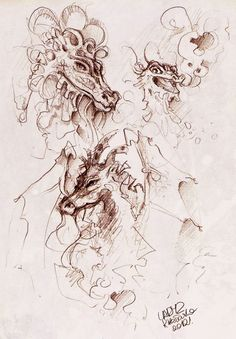 dragon_sketches. by Lady2