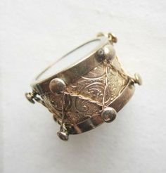 Vintage 14K Gold Charm, Drum, Mother of Pearl top and bottom, Etched design on sides....