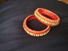 Silkthread kids bangle peach color good with party wear by Nstudio #silkthreadjewellery #silkthreadjewelleryQatar