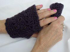 Purple Fingerless Gloves XLG  2014FG by Pepperbelle on Etsy, $15.00