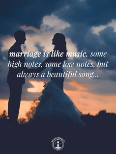 """Love / Marriage / Wedding Quote. """"Marriage is like music. some high notes, some low notes, but always a beautiful song"""". Perfect for wedding and groom speeches."""