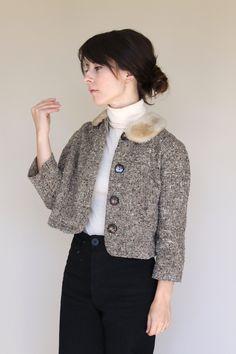 1950s Cropped Twill Jacket, tweed, vintage fashion, style, autumn, fur collar