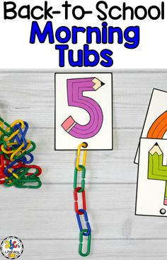 Connect Links Counting Cards for Back-to-School Morning Tubs Morning work should never be boring! These Back-to-School Morning Tubs are fun, hands-on activities used to learn [. Numbers Kindergarten, Numbers Preschool, Kindergarten Centers, Kindergarten Classroom, Literacy Centers, Classroom Fun, Classroom Activities, Beginning Of School, Back To School