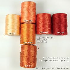 New C-Lon Bead Cord Color Popsicle Orange compared  with other C-Lon Bead Cord oranges