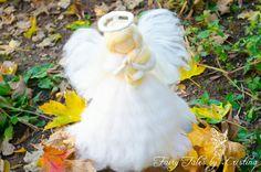 Beautiful Felted Angel praying night light day time