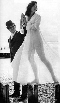 """Patrick Macnee as 'John Steed' and Diana Rigg ✾ as 'Emma Peel' from """"The Avengers""""."""