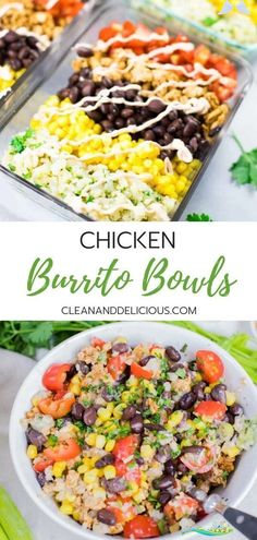 Chicken Burrito Bowls | Lunch Meal Prep Clean & Delicious - Healthy Chicken Burrito Bowls | Lunch Meal Prep Clean & Delicious<br>