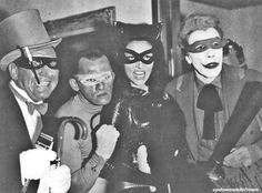 Burgess Meredith, Frank Gorshen, Julie Newmar, and Cesar Romero as the Batman Villains, 1960's