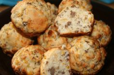 These were found in a bonus book from Taste of Homes Simple And Delicious and thought they sounded very good.  The recipe is credited to Beverly Borges of Rockland, MA.  The recipe I adapted gave the yield at 24. There were some adjustments made to the original recipe; i.e., the addition of cheese and onions. I baked these in silicone muffin pans and the yield was 18.