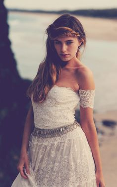 bohemian lace dress / braided hair