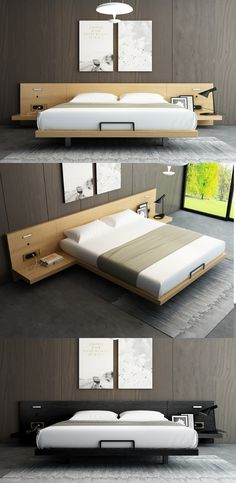 Japanese tatami double bed couple bed Sleeping in the Japanese room on tatami mats and a double layer of futon (rolling mattress) is very, very comfortable. Bed Frame Design, Bedroom Bed Design, Bedroom Furniture Design, Home Room Design, Modern Bedroom, Bedroom Decor, Cama Tatami, Tatami Bed, Tatami Room