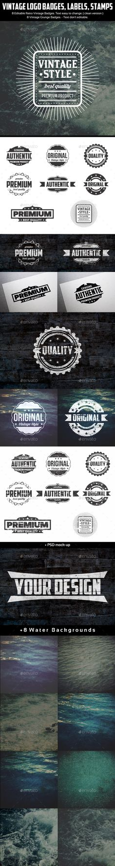 Vintage Logo Badges Labels Stamps Template Vector EPS, AI. Download here: http://graphicriver.net/item/vintage-logo-badges-labels-stamps/15642966?ref=ksioks