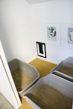 """DIY """"litter box room"""" in the garage, with kitty door access from the house."""