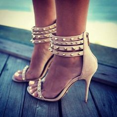 Cute beige heels with thorns and straps. Latest arrivals: