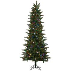 Kennedy Slim 6.5' Green Fir Artificial Christmas Tree with 400 LED Multi-Colored Lights with Stand