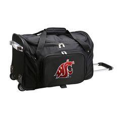 Denco Washington State Cougars 22-Inch Wheeled Duffel Bag, Black