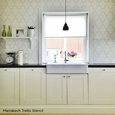 Spice Up Your Kitchen Backsplash With A Stencil : kitchen stencils backsplash - hauntedcathouse.org