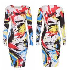 "5/28 Hpnew! """"Body Paint Bodycon Midi Dress"""""