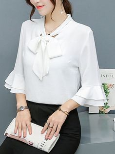Buy Tie Collar Bowknot Plain Bell Sleeve Blouse online with cheap prices and discover fashion Blouse Blouse And Skirt, Blouse Outfit, Dress Neck Designs, Blouse Designs, Bell Sleeve Blouse, Bell Sleeves, Cheap Maxi Dresses, Mode Hijab, Blouse Online