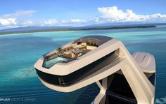 Shaddai futuristic 150 meter superyacht, features an elevated infinity pool above the water. Shaddai superyacht concept by Italian designer Gabriele… Yacht Design, Boat Design, Super Yachts, Paris Match, Destination Voyage, Digital Trends, Power Boats, Luxury Yachts, Civil Engineering