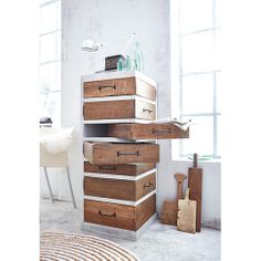 DIY Furniture idea. Rustikale Kommode. ... could not use drawer glides on this. Beautiful idea, but hard to make and harder to use. Too much weight would make it difficult to use bottom drawers, yet heavy, solid wood or ply would be needed to keep the shape shelves level.  Worth thinking about for interesting furnishing holding light weight items.