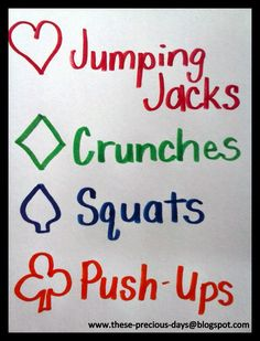 Use a deck of cards to determine your workout. Aces will be a minute of walking in place. Whatever number appears on the card will be the number of reps done. Group Fitness, Health And Fitness Tips, Fitness Games, Kids Fitness, Family Fitness, Running Workouts, Easy Workouts, Games For Grade 1, Gaming
