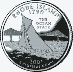 Learn about the Rhode Island 50 State Quarter. Access Rhode Island official state symbols with description and pictures. United States Mint, 50 States, Rhode Island, Usa Facts, Narragansett Bay, State Quarters, Coin Shop, Quarter Dollar, Nation State