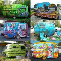 Check out these Colorfully Creatively Painted Fun RV's! Which is your favorite? Mine is the watermelon ;)