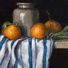 Mandarines et le pot en grès Antique nature morte peinture - art giclée par Elizabeth Floyd