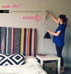 DIY: hanging bedside lamp, no more knocking it over in the middle of the night or needing more table room Bedroom Diy, Home Decor Inspiration, Diy Decor, Bedside Lamp, Diy Lighting, Diy Hanging, Home Diy, Master Bedroom Diy, Home Projects