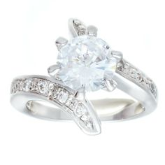 igh Mount Classic Solitaire Engagement Style Fashion Ring With Round Cubic Zirconia and Twist Sides Set With Clear CZ