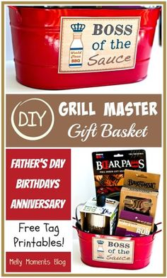DIY Grill Master Gift Basket under_second_paragraph 114 Do you have a guy who is most at home when grilling? Make this DIY gift basket, just for him! Diy Father's Day Gift Baskets, Fathers Day Gift Basket, Homemade Gift Baskets, Boyfriend Gift Basket, Christmas Gift Baskets, Diy Christmas Gifts, Homemade Gifts, Boyfriend Gifts, Christmas Time
