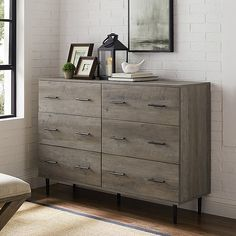 Modern Wood Dresser in Grey Wash - Walker Edison and functional, this two-toned rustic storage unit will be the center of attention in any room. Showcasing a reclaimed front contrasted by sleek white, the picturesque desi Rustic Dresser, Grey Dresser, Wood Dresser, 6 Drawer Dresser, Wood Drawers, Dresser Ideas, Bedroom Storage Cabinets, Wood Bedroom, Dream Bedroom