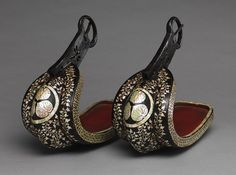 Pair of stirrups, late 16th–early 17th  century  Japan at www.metmuseum.org  Iron, lacquer, and mother-of-pearl