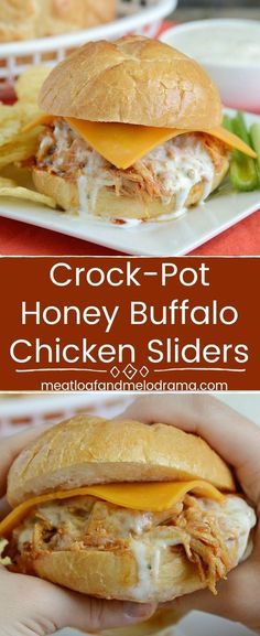 Crock-Pot Honey Buffalo Chicken Sliders - Chicken breasts simmered in the slow cooker in a sweet and spicy honey buffalo sauce make quick and easy sandwiches that are perfect for dinner, party appetizers or game day food. Leftover chicken tastes even bett Slow Cooker Recipes, Crockpot Recipes, Cooking Recipes, Hamburger Recipes, Skillet Recipes, Cooking Tips, Chicken Recipes, Quick And Easy Appetizers, Appetizers For Party