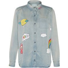 Mira Mikati Hand Painted Denim Shirt (823,530 KRW) ❤ liked on Polyvore featuring tops, denim top, blue top, button up shirts, denim button up shirt and shirt top