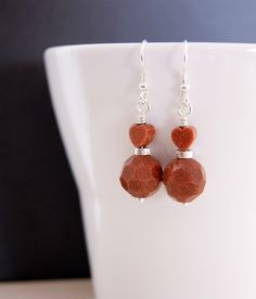 Sandstone Earrings and 925 Sterling Silver. Very sparkly. Valentine's Day £12.00