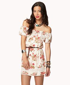 Rose Print Dress w/ Faux Leather Belt