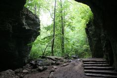 The natural arches at Carter Caves State Resort Park seem small from a distance but are actually quite vast.